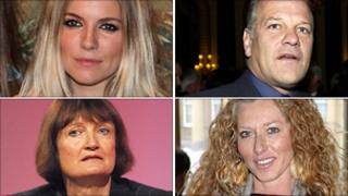 Clockwise from top left, Sienna Miller, Andy Gray, Kelly Hoppen and Tessa Jowell