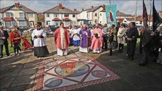 Mosaic outside St Stephen's Church in Blackpool