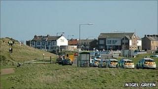 Police cars near Seaton Sluice beach (pic courtesy of Nigel Green)