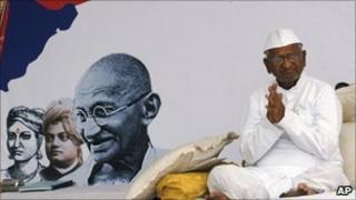 Anna Hazare gestures during his hunger strike in Delhi, Friday, April 8, 2011