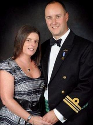 Lt Cdr Ian Molyneux, who was shot dead, with his wife Gillian