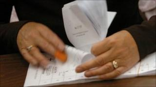 Counting ballot slips for the General Election