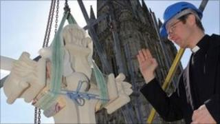 Stone cross installed at Salisbury Cathedral