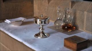 An area prepared for Holy Communion in a Church of England church
