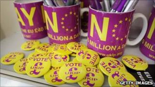 UKIP badges and cups
