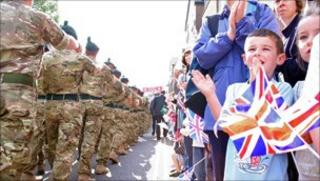 Royal Irish troops parade in Market Drayton