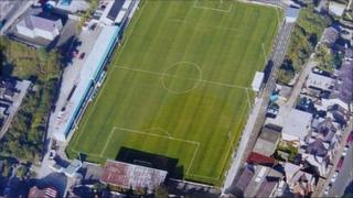 Farrar Road aerial pictures taken in 2004 (copyright: Bangor City Football Club)