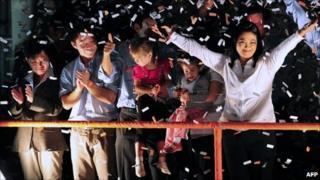 Keiko Fujimori celebrates (11 April 2011)