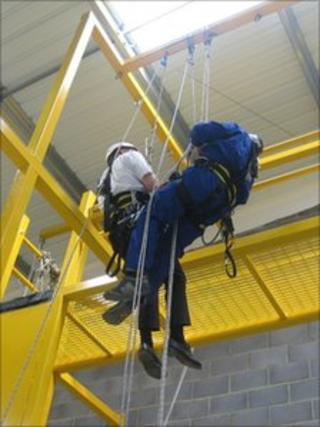 Training equipment for working up a height