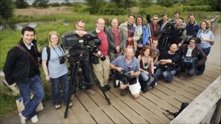 Springwatch team at wildlife habitat