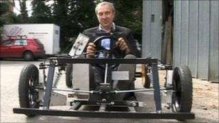 BBC presenter Rod Whiting and BBC gravity-kart entered into the Belchford Downhill Challenge