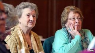Pensioner Mary Roberts (left) attends the first Pensioners Parliament at Belfast City Hall. Friday March 4, 2011