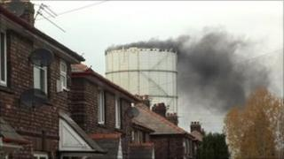 Gas tower fire courtesy of Mark Wakefield