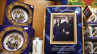 Cups, plates and pictures of Prince William and Kate Middleton