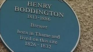 Henry Boddington's blue plaque