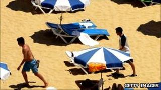 People on Algarve beach - file picture