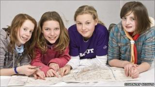 Girls in the Coventry Scouts