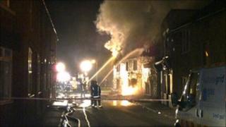 The Boot Inn on fire