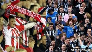 Safc and Nufc fans. Photo: Getty Images - Christopher Lee & Dean Mouhtaropoulos.