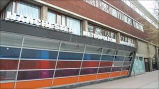 Manchester Metropolitan University sign