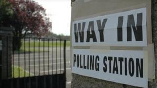 Polling station in Belfast