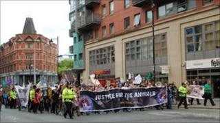 Protesters in Manchester city centre