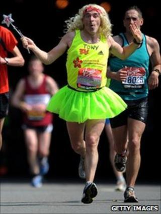 London Marathon runner in fancy dress