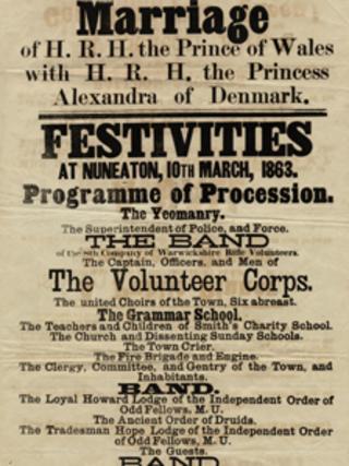 Poster marking marriage celebrations of Edward VII and Princess Alexandra