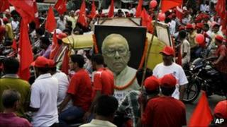 Communist supporters at an election rally in West Bengal on 9 April 2011