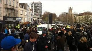 Student protesters in Bristol