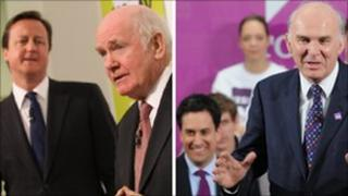 David Cameron and Lord Reid, Ed Miliband and Vince Cable