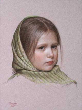 The Green Shawl drawing