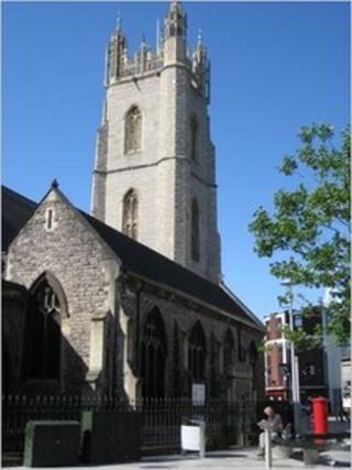 St John's Church in Cardiff city centre