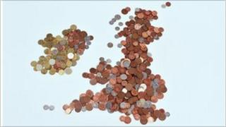 Map of British Isles made from coins