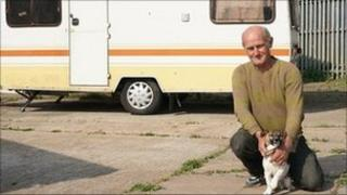 Traveller on the Coventry site