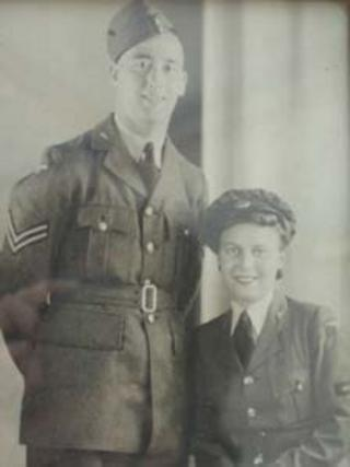 Ronald and Gwendoline Catlow on their wedding day on 29 April 1942