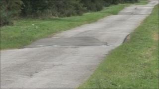 The road where Rachel Edwards crashed