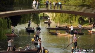 Punters on the river in Cambridge