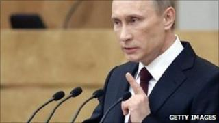 Russian President Vladimir Putin addressing the Duma