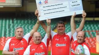 The Valley Boys pick up their £4,091,609 cheque at the Millennium Stadium, Cardiff