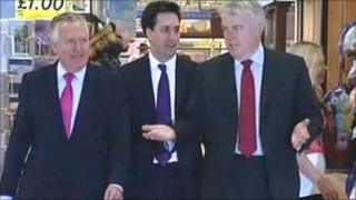 Peter Hain, Ed Miliband and Carwyn Jones campaigning in Llanelli