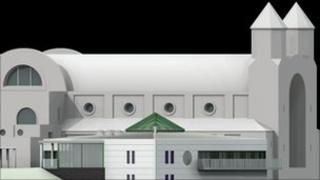 mock-up of new monastery building