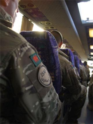 Royal Welsh soldiers on a coach (Photo: Chris Walton)