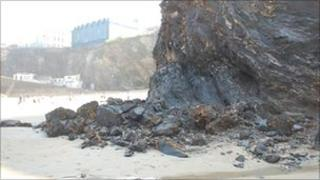Newquay cliff fall