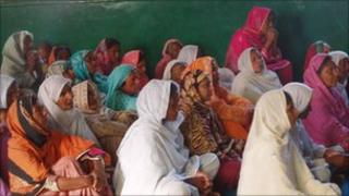 Christians at a church service in minister Shahbaz Bhatti's family village of Khushk Pur in Punjab