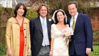 David Cameron (r) at sister Clare's wedding