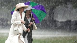 Women with umbrella in rain