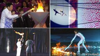 Clockwise from top left: Muhammad Ali, Salt Lake City, 2002; Li Ning, Beijing, 2008; Cathy Freeman, Sydney, 2000; and Antonio Rebollo, Barcelona, 1992; use the torch flame to light the cauldrons