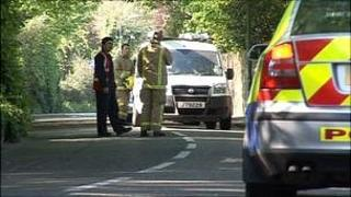 Police and emergency services deal with a gas leak