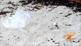 Litter on a Guernsey beach